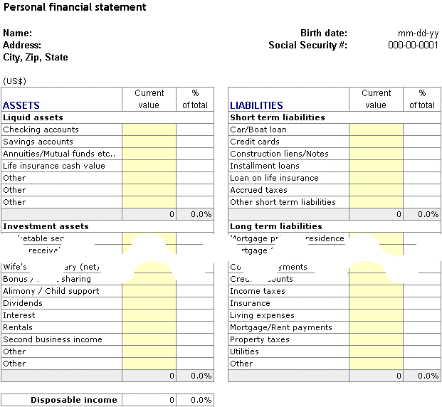 Personal finance worksheet | Personal Financial Planning and Analysis