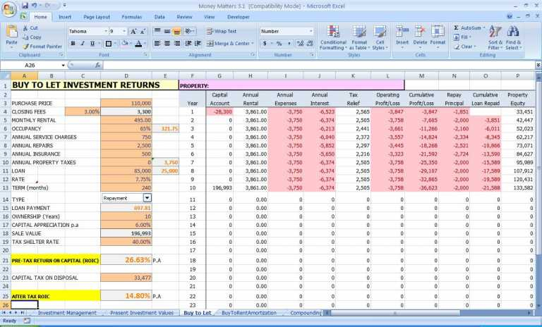 personal finance excel